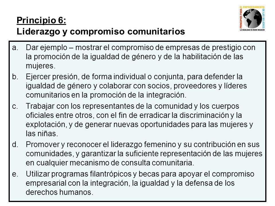 Principio 6: Liderazgo y compromiso comunitarios