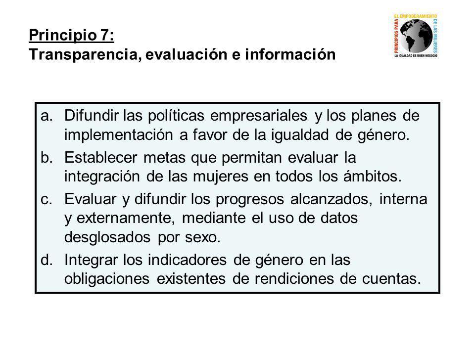 Principio 7: Transparencia, evaluación e información