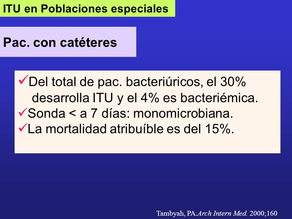 Del total de pac. bacteriúricos, el 30%