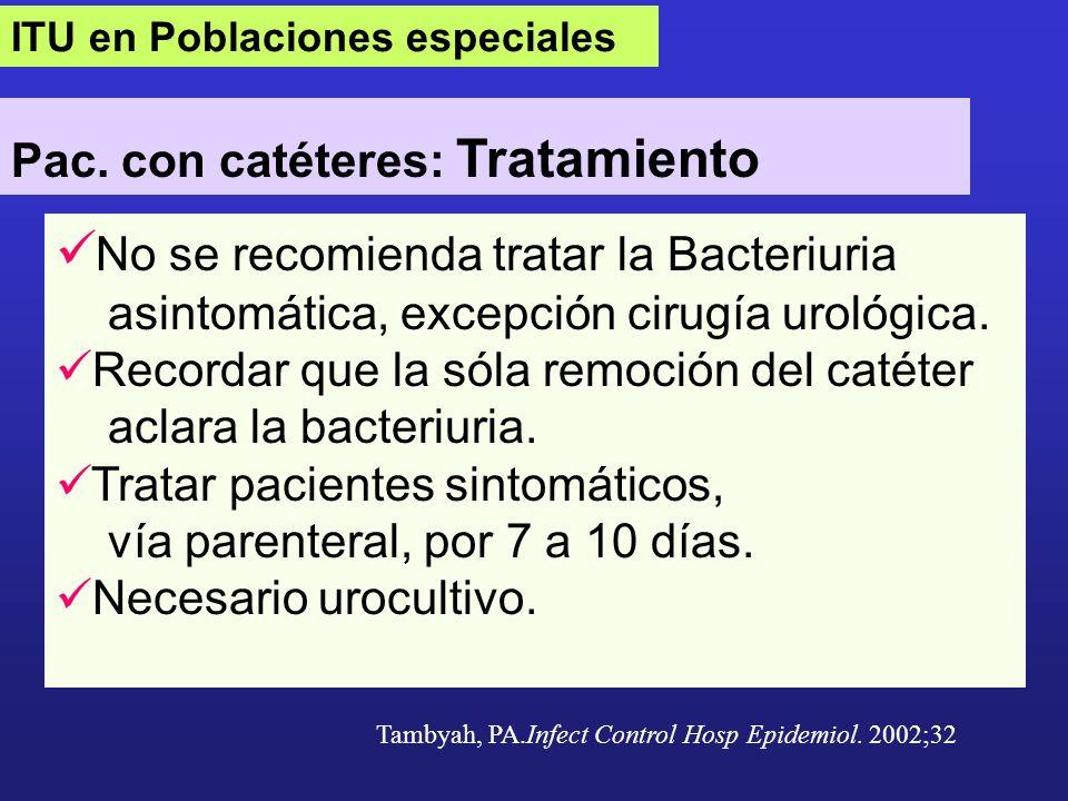 No se recomienda tratar la Bacteriuria