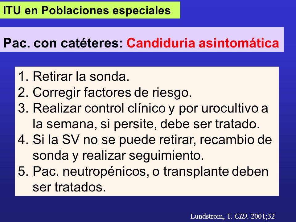 Pac. con catéteres: Candiduria asintomática