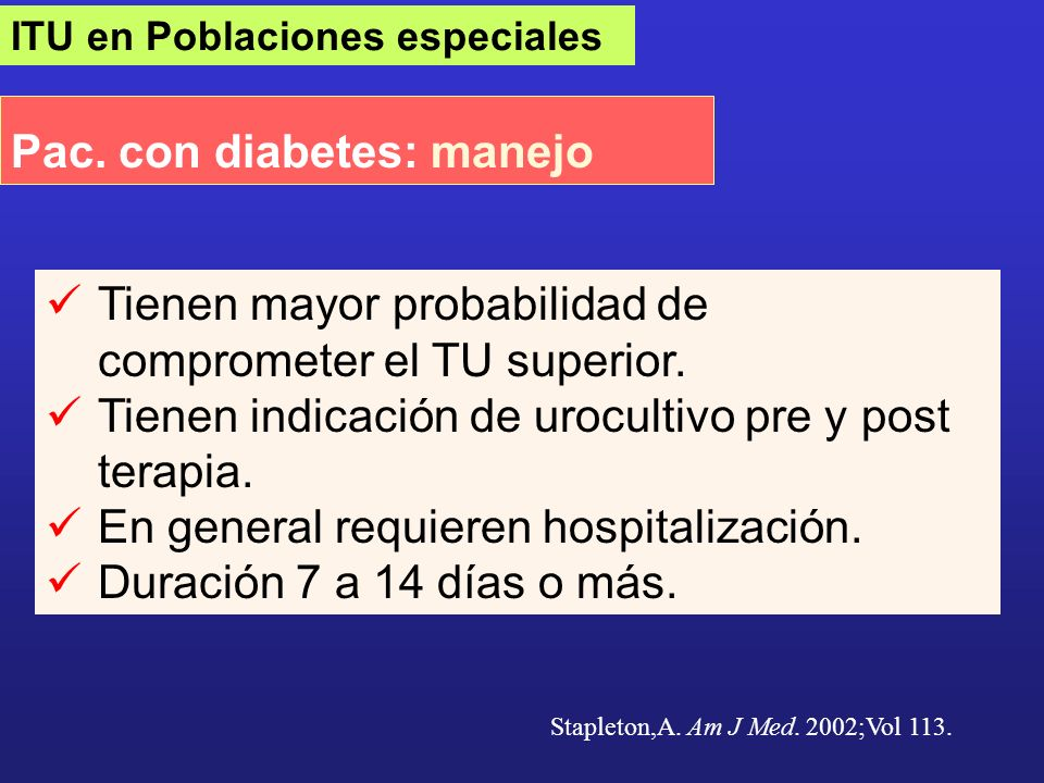 Pac. con diabetes: manejo