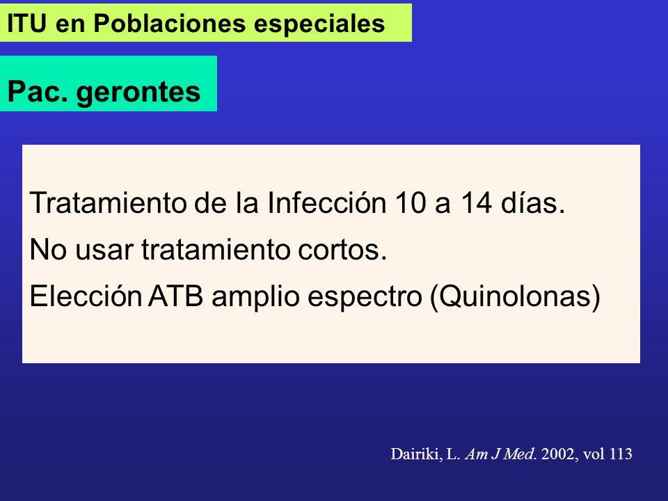 Tratamiento de la Infección 10 a 14 días. No usar tratamiento cortos.