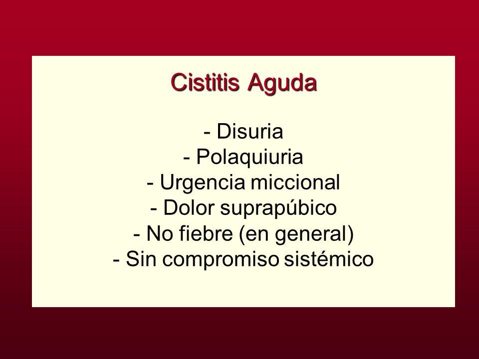 Cistitis Aguda - Disuria - Polaquiuria - Urgencia miccional - Dolor suprapúbico - No fiebre (en general) - Sin compromiso sistémico