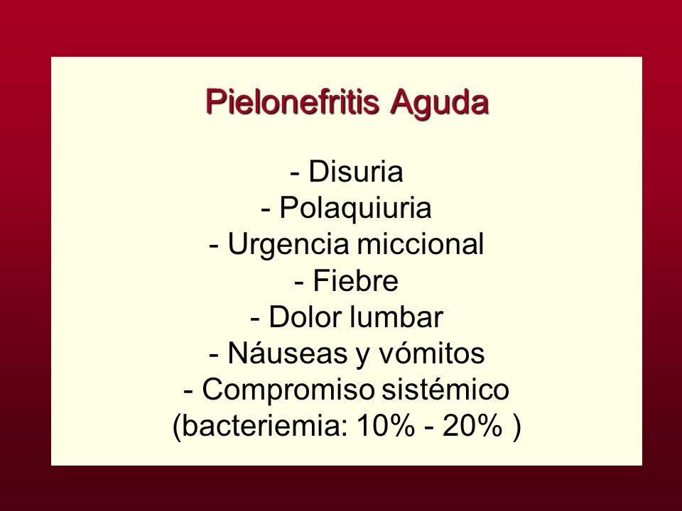 Pielonefritis Aguda - Disuria - Polaquiuria - Urgencia miccional - Fiebre - Dolor lumbar - Náuseas y vómitos - Compromiso sistémico (bacteriemia: 10% - 20% )