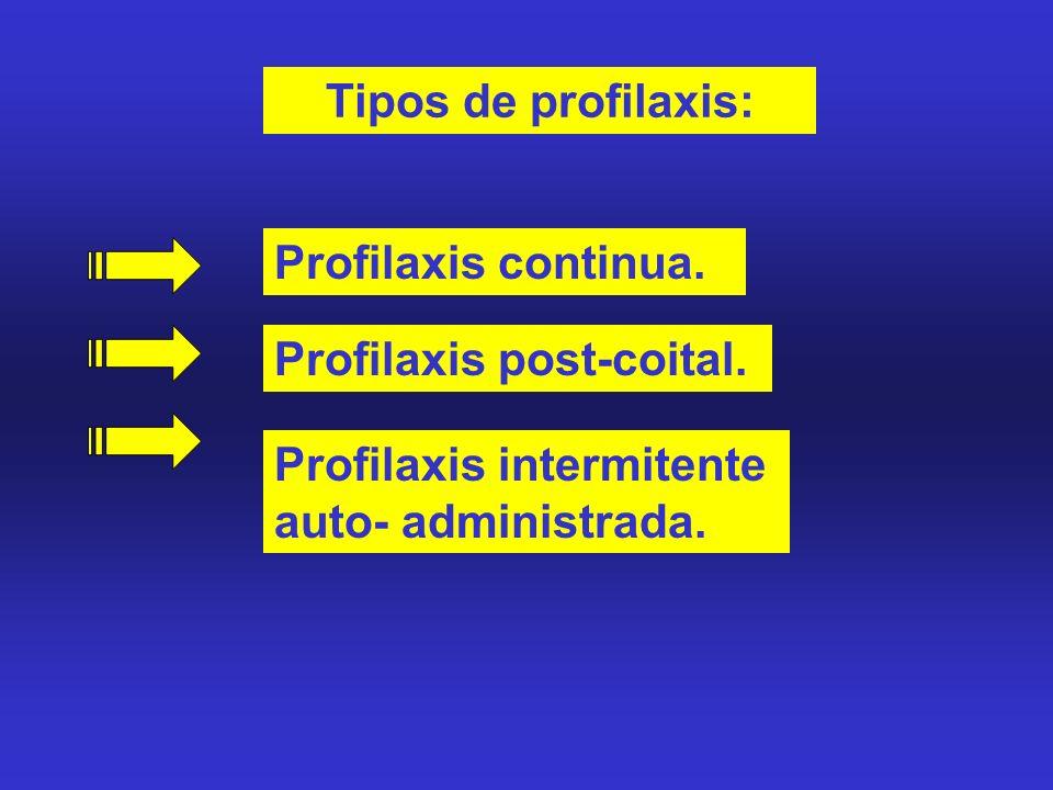 Tipos de profilaxis: Profilaxis continua. Profilaxis post-coital.