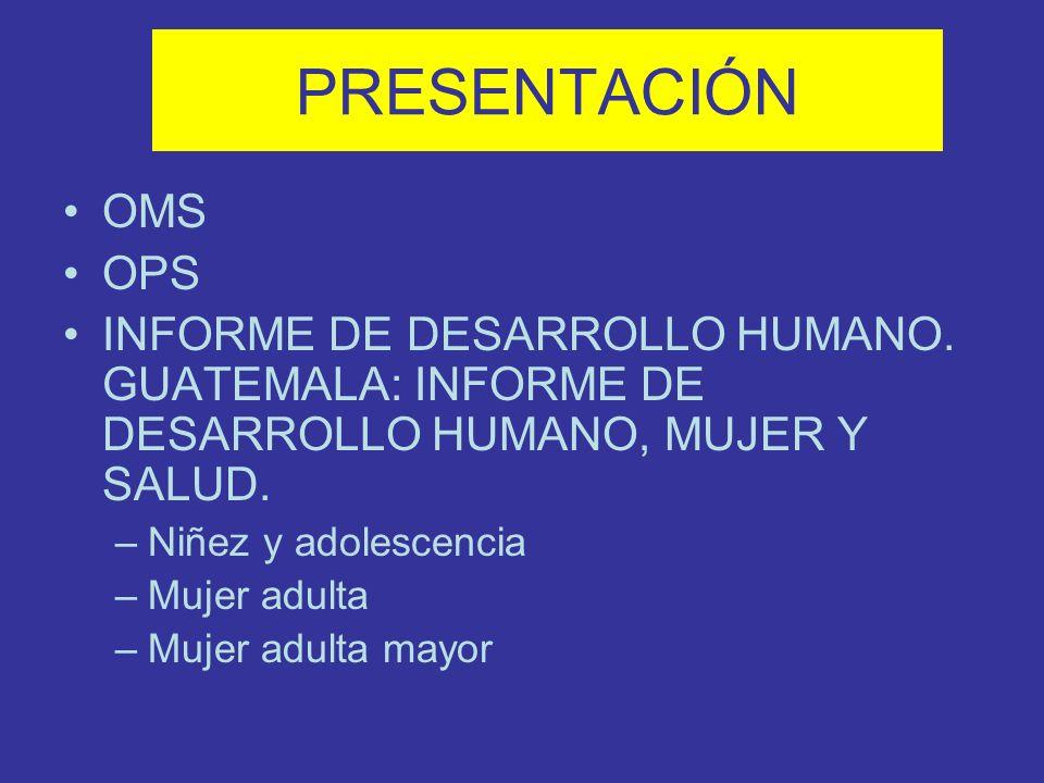 PRESENTACIÓN OMS. OPS. INFORME DE DESARROLLO HUMANO. GUATEMALA: INFORME DE DESARROLLO HUMANO, MUJER Y SALUD.