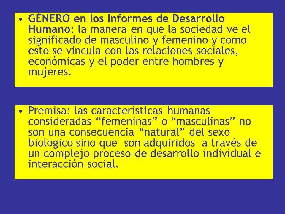 GÉNERO en los Informes de Desarrollo Humano: la manera en que la sociedad ve el significado de masculino y femenino y como esto se vincula con las relaciones sociales, económicas y el poder entre hombres y mujeres.