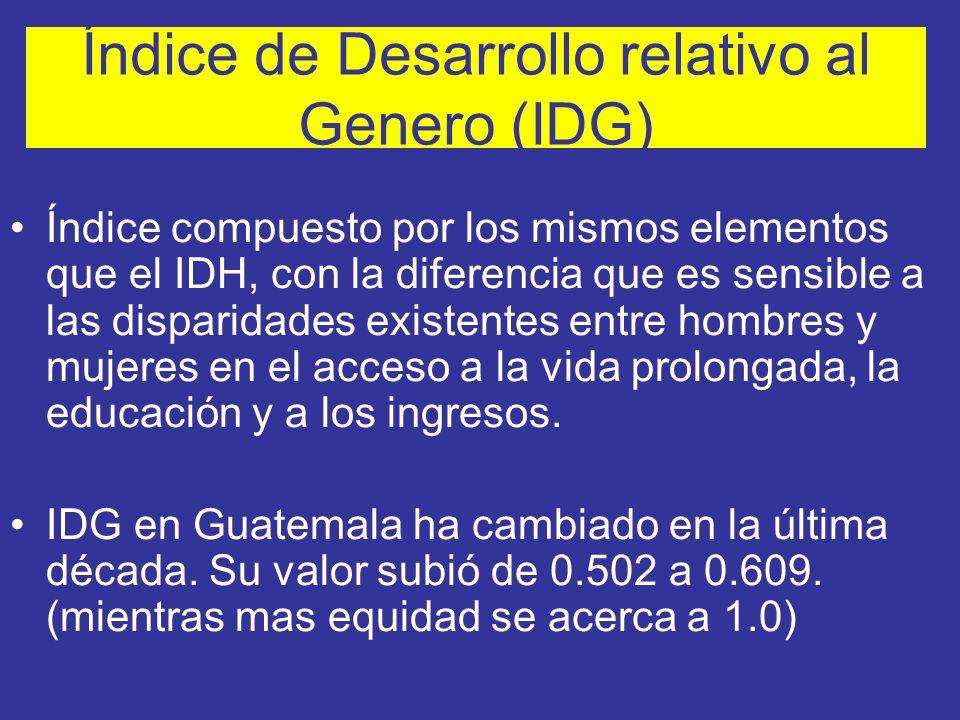 Índice de Desarrollo relativo al Genero (IDG)
