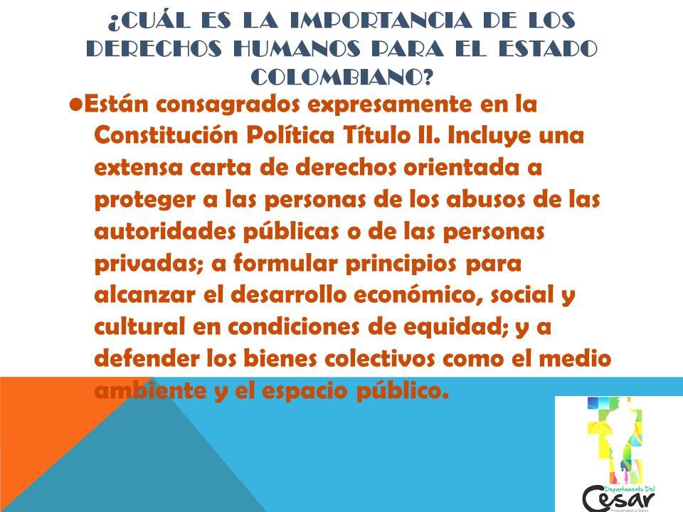¿Cuál es la importancia de los Derechos Humanos para el Estado Colombiano
