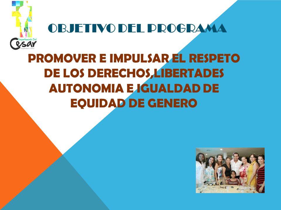 OBJETIVO DEL PROGRAMA PROMOVER E IMPULSAR EL RESPETO DE LOS DERECHOS,LIBERTADES AUTONOMIA E IGUALDAD DE EQUIDAD DE GENERO.