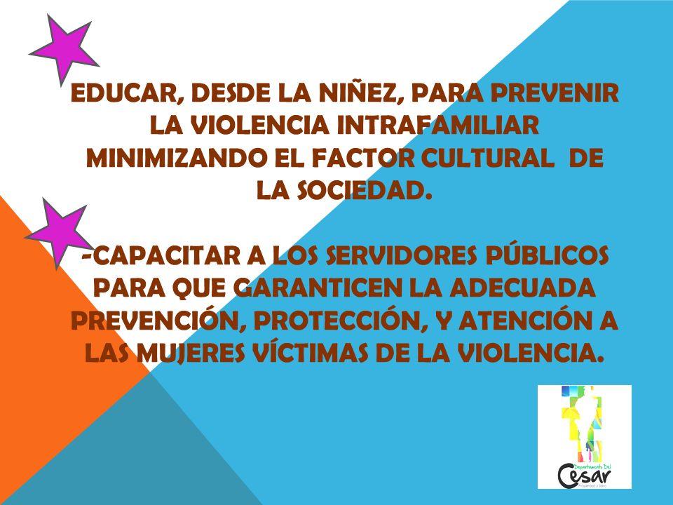 - Educar, desde la niñez, para prevenir la violencia intrafamiliar minimizando el factor cultural de la sociedad.