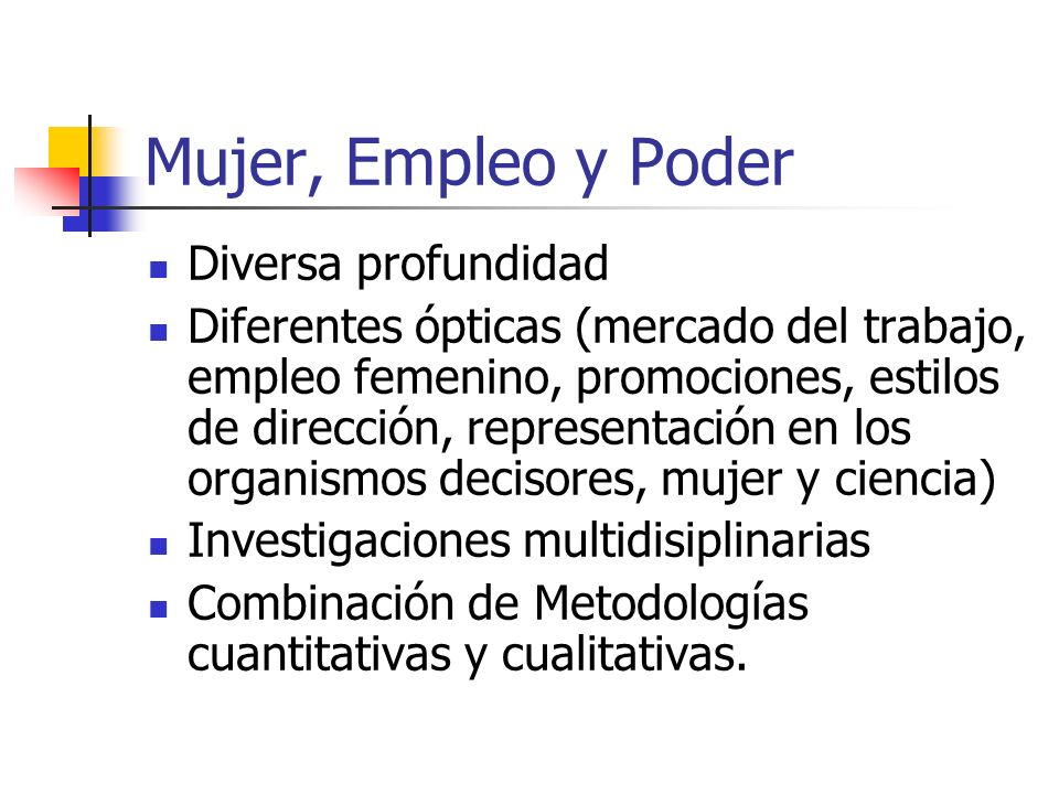 Mujer, Empleo y Poder Diversa profundidad