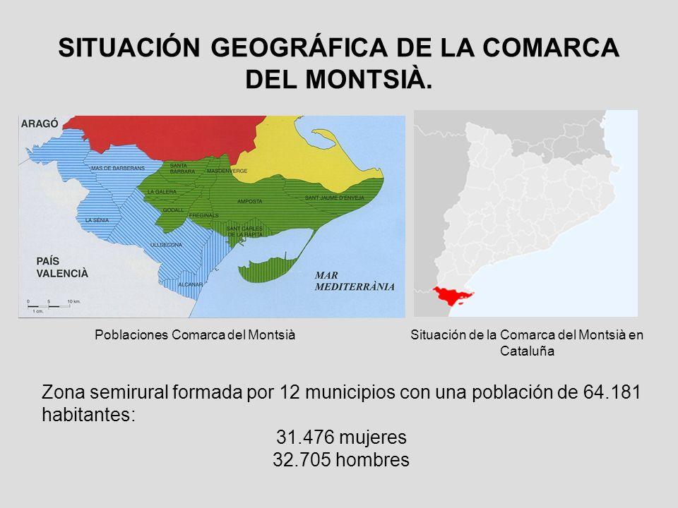 SITUACIÓN GEOGRÁFICA DE LA COMARCA DEL MONTSIÀ.