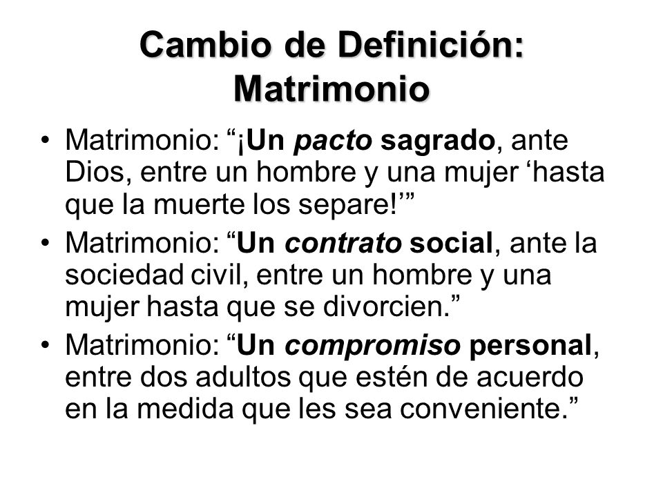 Cambio de Definición: Matrimonio