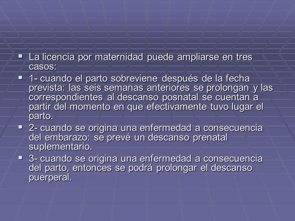 La licencia por maternidad puede ampliarse en tres casos: