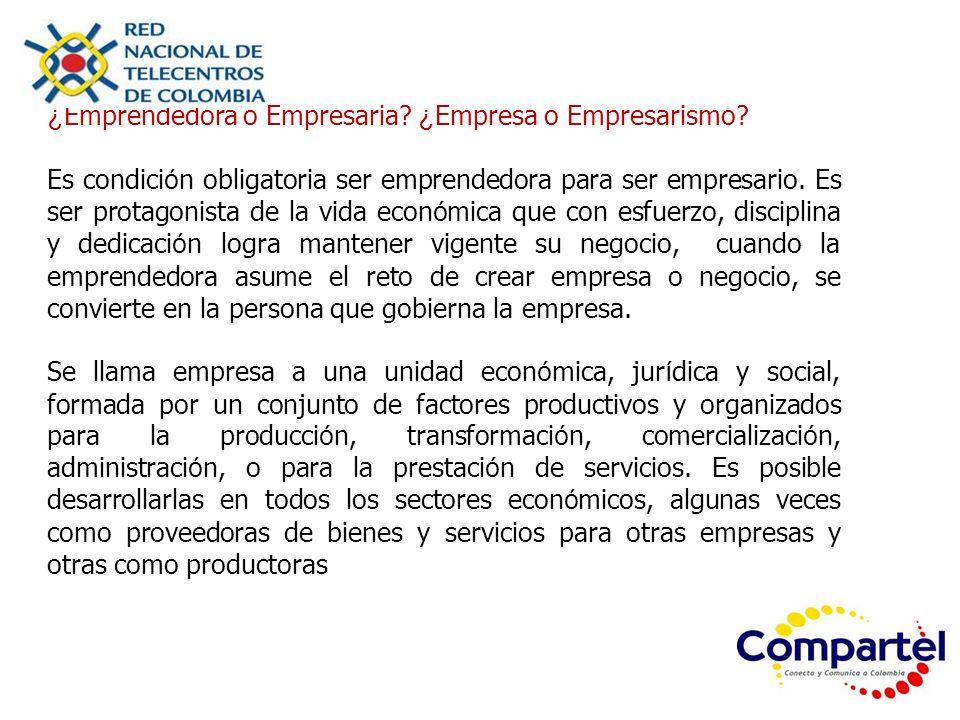 ¿Emprendedora o Empresaria ¿Empresa o Empresarismo