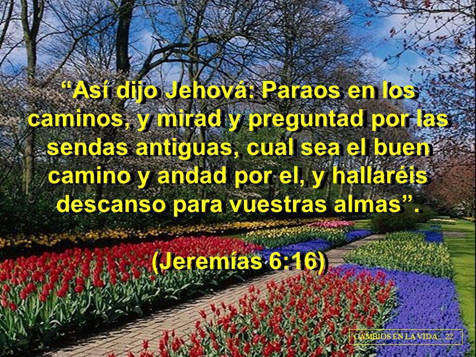Así dijo Jehová: Paraos en los caminos, y mirad y preguntad por las sendas antiguas, cual sea el buen camino y andad por el, y hallaréis descanso para vuestras almas . (Jeremías 6:16)