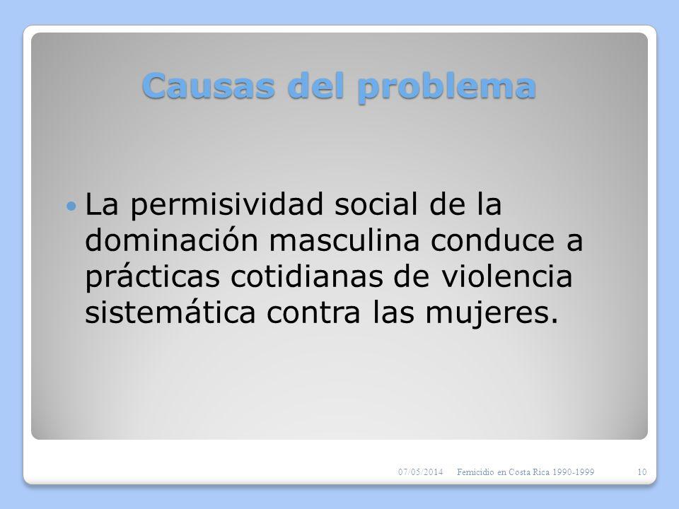 Causas del problemaLa permisividad social de la dominación masculina conduce a prácticas cotidianas de violencia sistemática contra las mujeres.