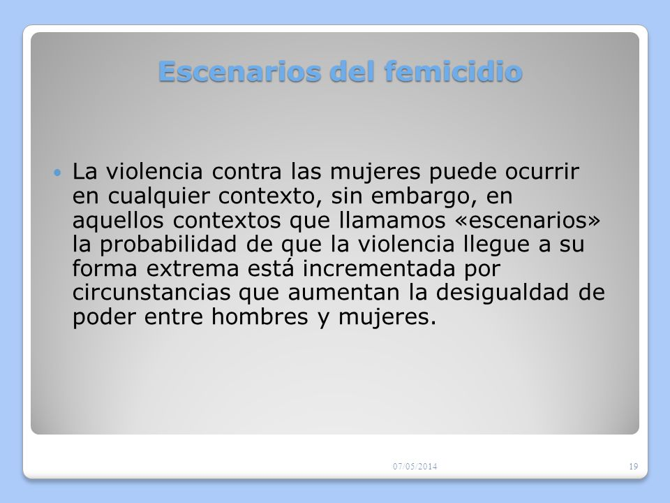 Escenarios del femicidio