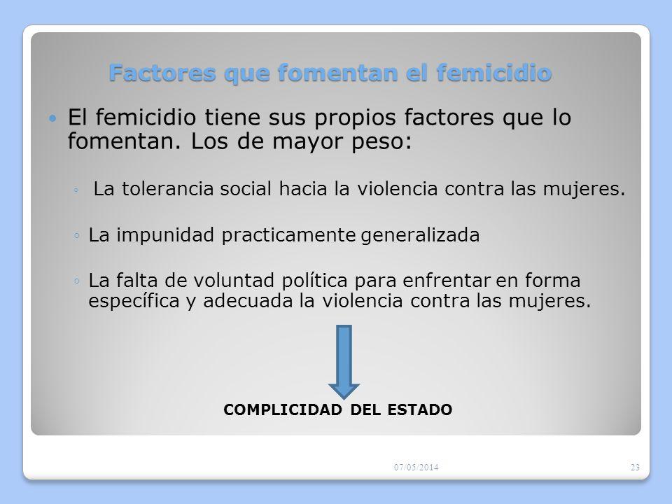 Factores que fomentan el femicidio