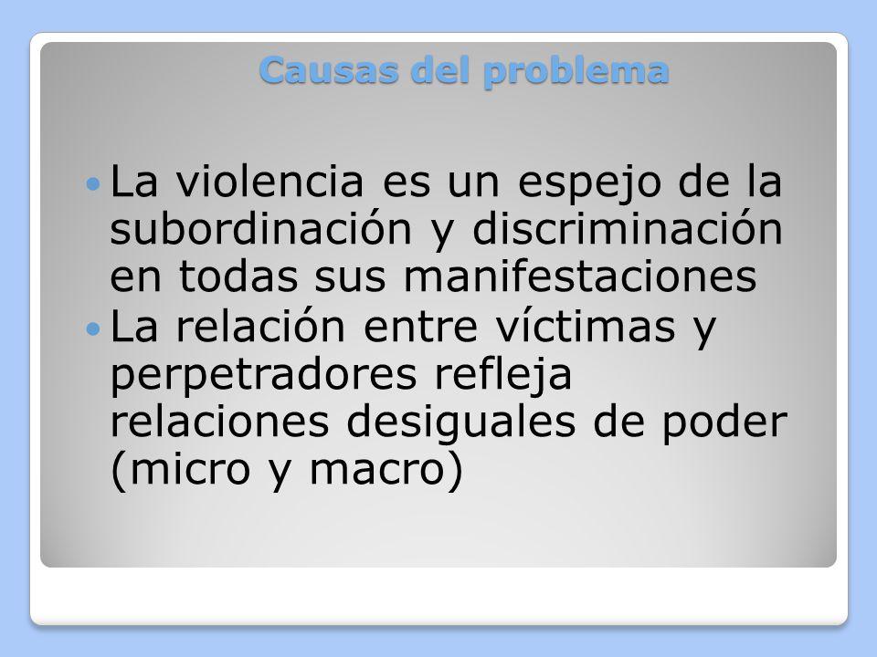 Causas del problemaLa violencia es un espejo de la subordinación y discriminación en todas sus manifestaciones.
