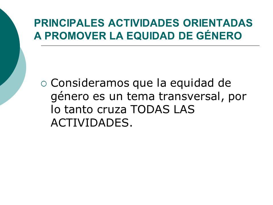 PRINCIPALES ACTIVIDADES ORIENTADAS A PROMOVER LA EQUIDAD DE GÉNERO