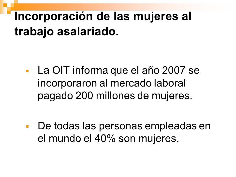 Incorporación de las mujeres al trabajo asalariado.