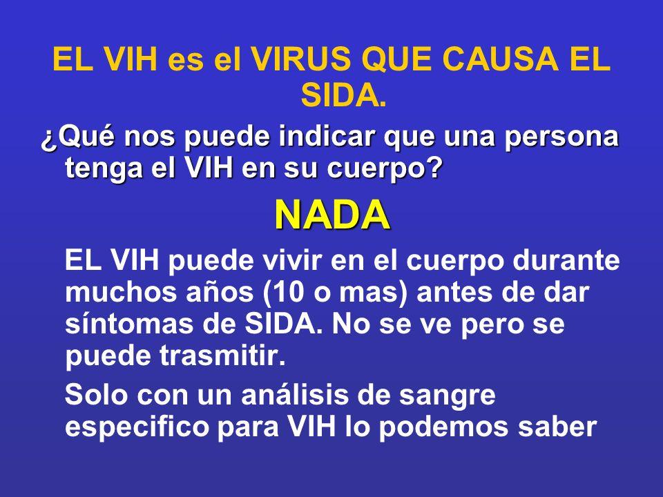 EL VIH es el VIRUS QUE CAUSA EL SIDA.
