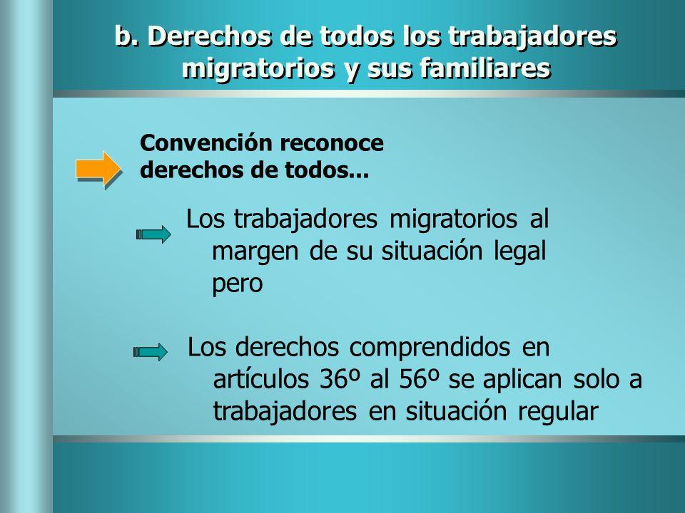 b. Derechos de todos los trabajadores migratorios y sus familiares