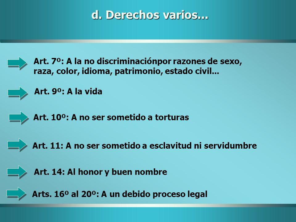 d. Derechos varios... Art. 7º: A la no discriminaciónpor razones de sexo, raza, color, idioma, patrimonio, estado civil...