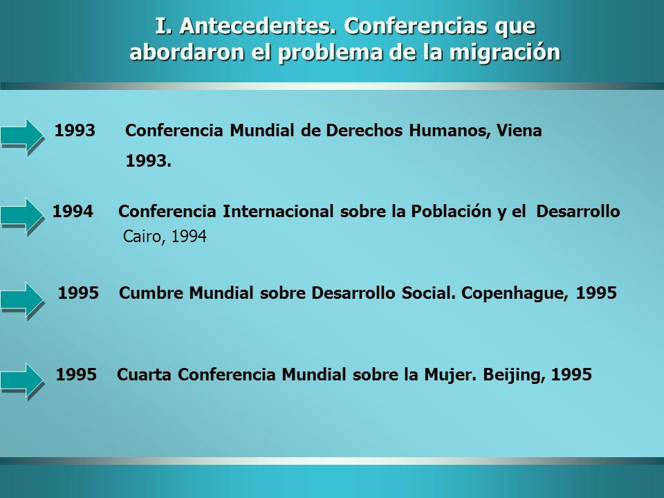 I. Antecedentes. Conferencias que abordaron el problema de la migración