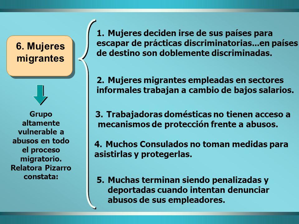 6. Mujeres migrantes Mujeres deciden irse de sus países para