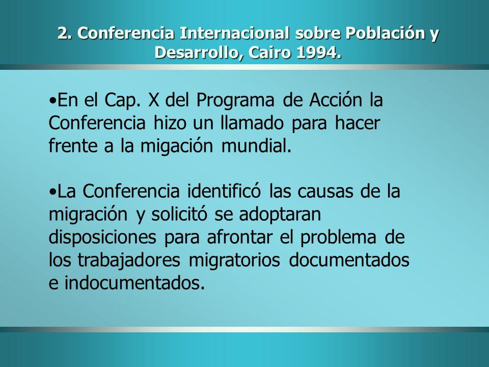 2. Conferencia Internacional sobre Población y Desarrollo, Cairo 1994.