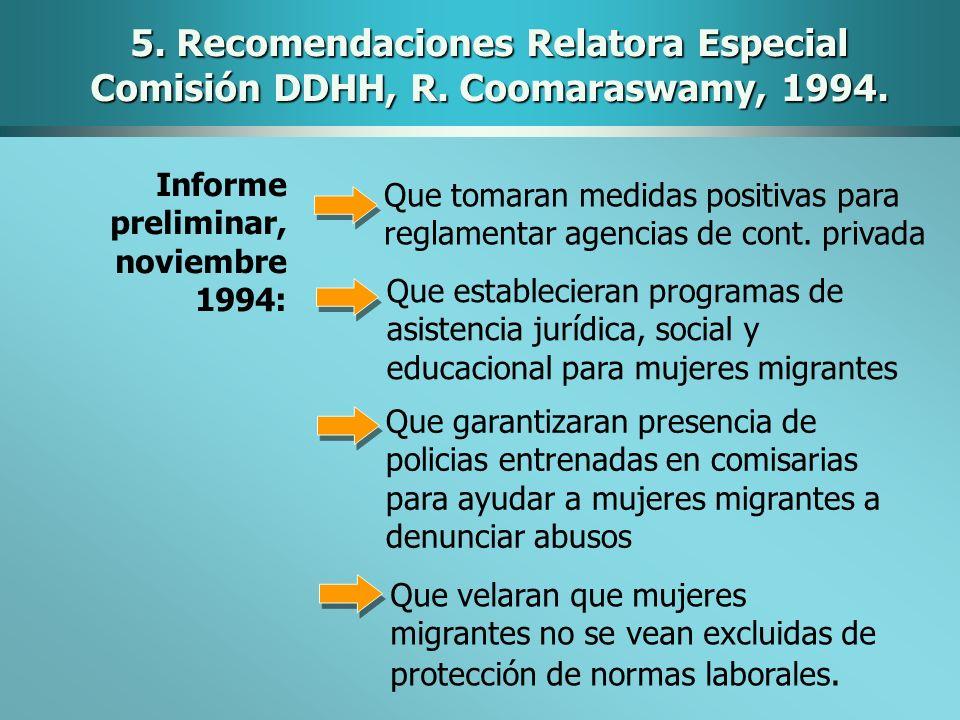 5. Recomendaciones Relatora Especial Comisión DDHH, R