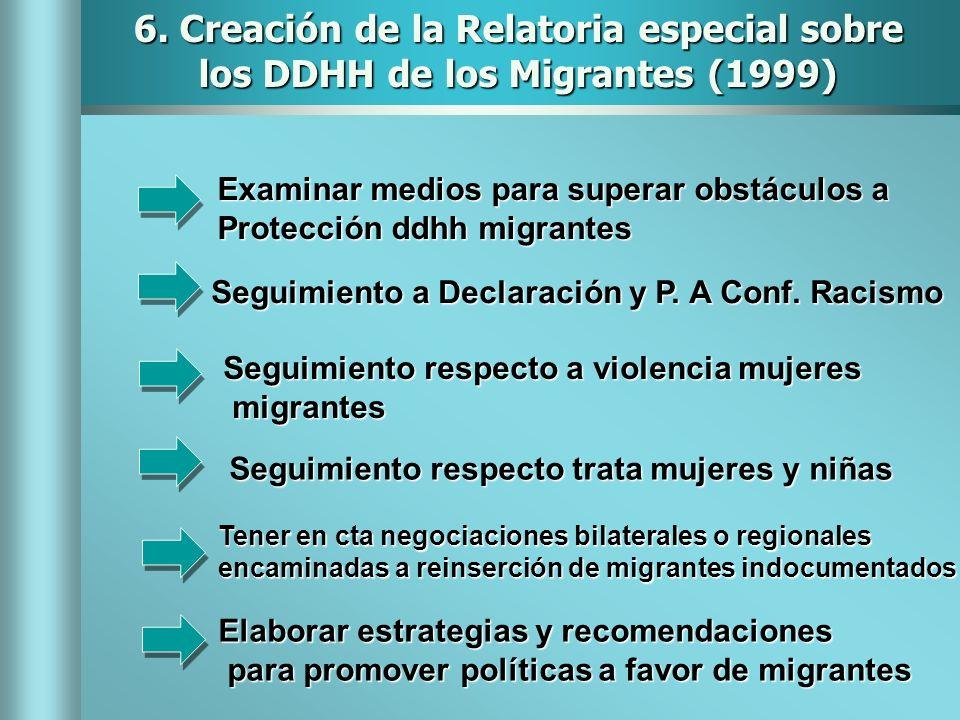 6. Creación de la Relatoria especial sobre los DDHH de los Migrantes (1999)