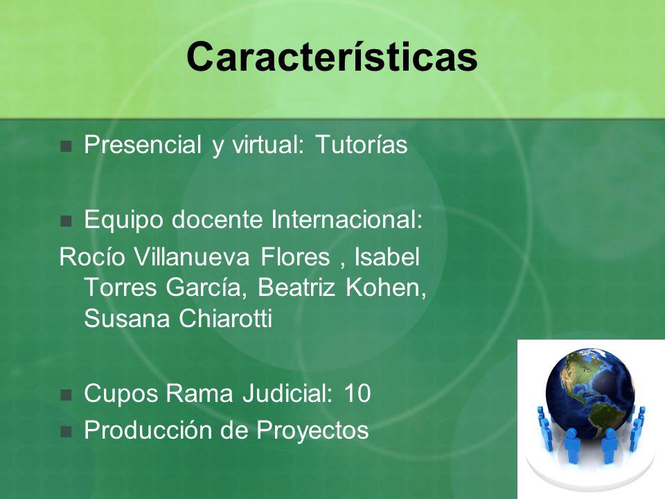 Características Presencial y virtual: Tutorías