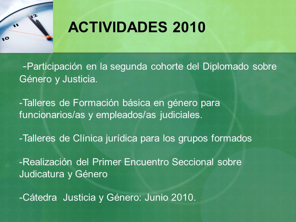 ACTIVIDADES 2010 -Participación en la segunda cohorte del Diplomado sobre Género y Justicia.