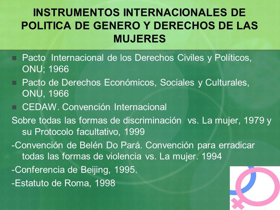 INSTRUMENTOS INTERNACIONALES DE POLITICA DE GENERO Y DERECHOS DE LAS MUJERES