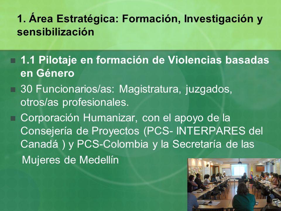 1. Área Estratégica: Formación, Investigación y sensibilización