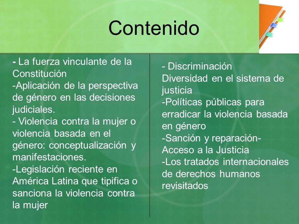 Contenido - La fuerza vinculante de la Constitución - Discriminación