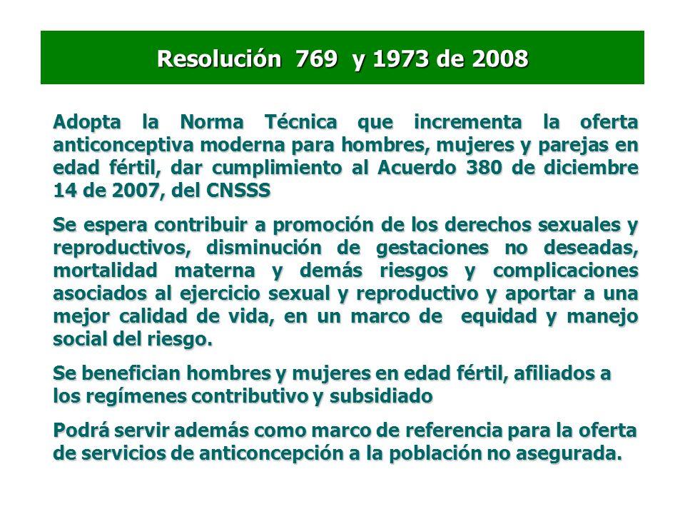 Resolución 769 y 1973 de 2008