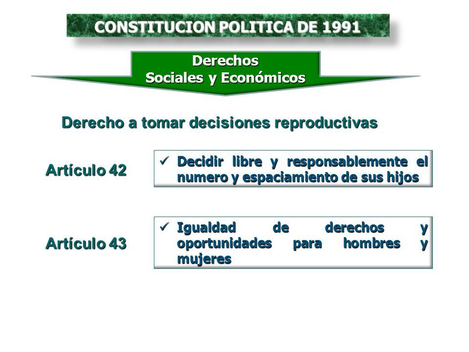 CONSTITUCION POLITICA DE 1991 Derecho a tomar decisiones reproductivas