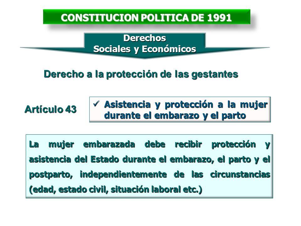 CONSTITUCION POLITICA DE 1991 Derecho a la protección de las gestantes