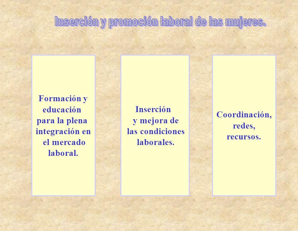 Inserción y promoción laboral de las mujeres.