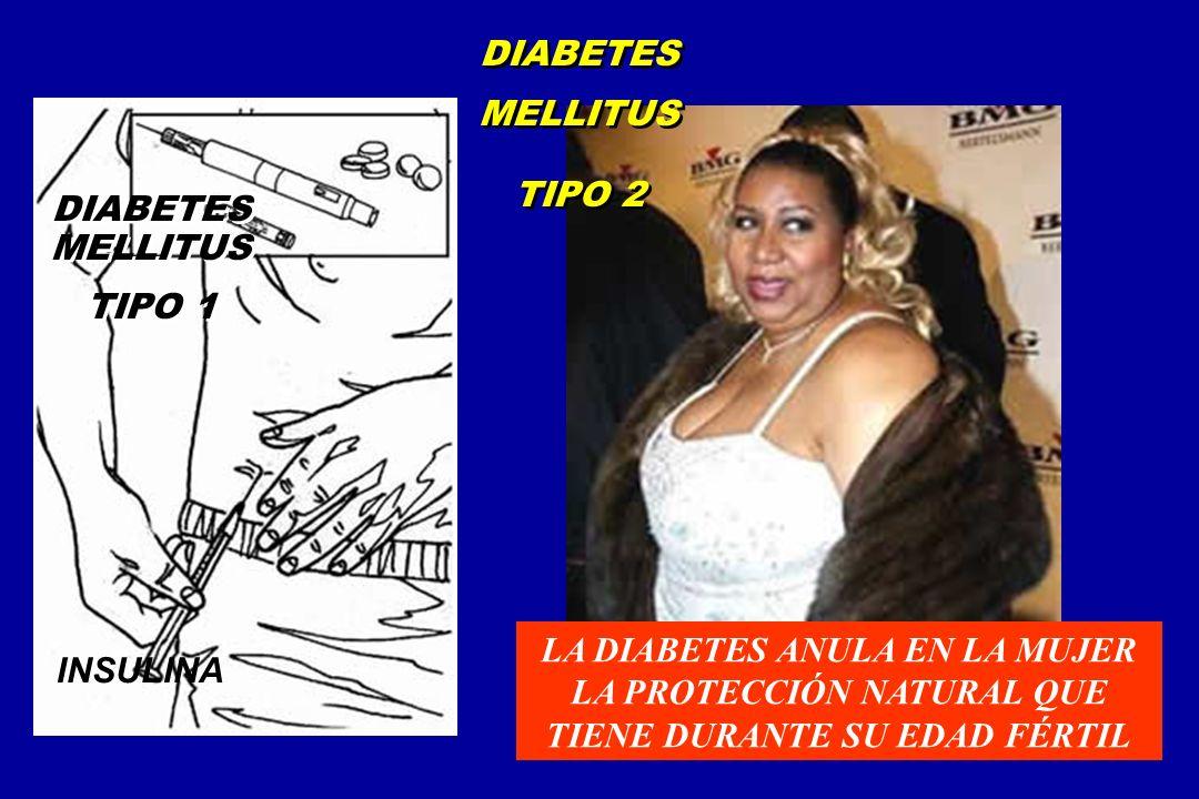 DIABETES MELLITUS TIPO 2. DIABETES MELLITUS. TIPO 1. LA DIABETES ANULA EN LA MUJER LA PROTECCIÓN NATURAL QUE TIENE DURANTE SU EDAD FÉRTIL.