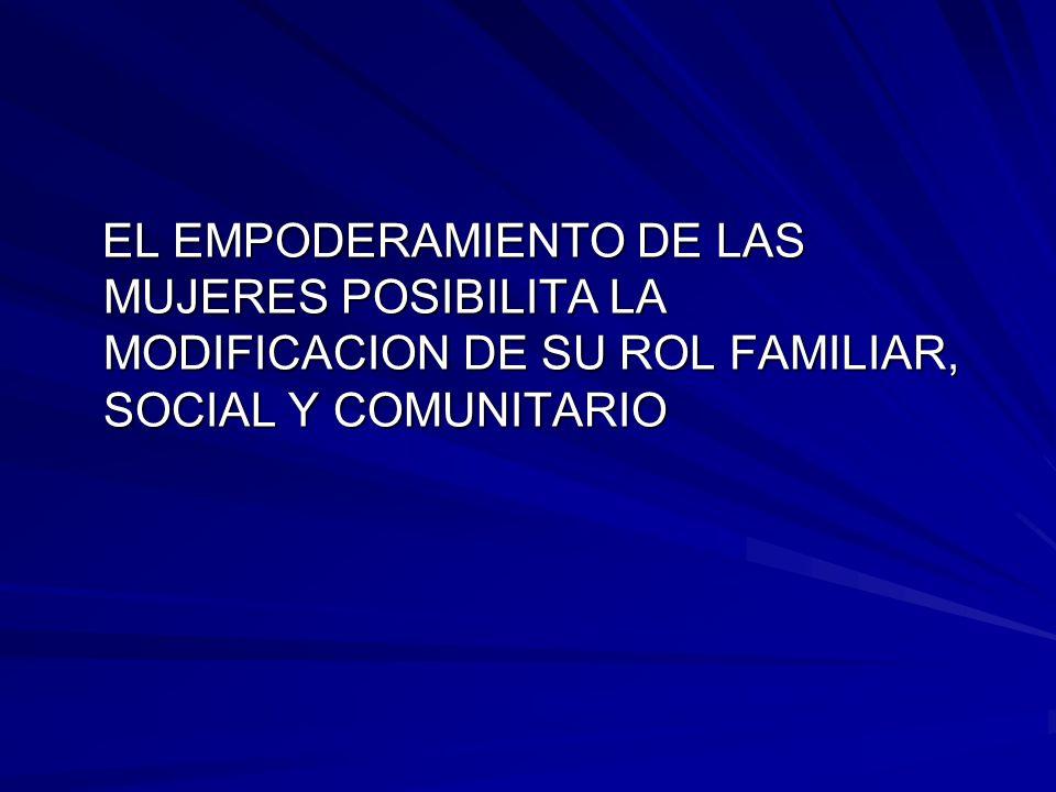 EL EMPODERAMIENTO DE LAS MUJERES POSIBILITA LA MODIFICACION DE SU ROL FAMILIAR, SOCIAL Y COMUNITARIO