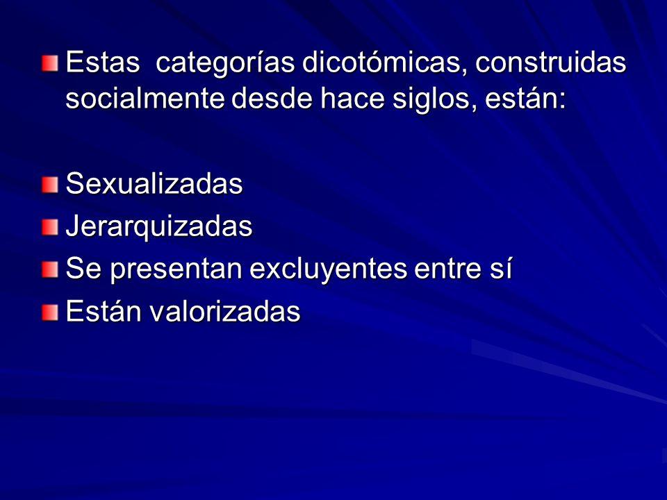 Estas categorías dicotómicas, construidas socialmente desde hace siglos, están: