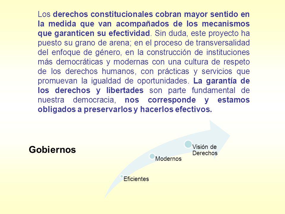 Los derechos constitucionales cobran mayor sentido en la medida que van acompañados de los mecanismos que garanticen su efectividad. Sin duda, este proyecto ha puesto su grano de arena; en el proceso de transversalidad del enfoque de género, en la construcción de instituciones más democráticas y modernas con una cultura de respeto de los derechos humanos, con prácticas y servicios que promuevan la igualdad de oportunidades. La garantía de los derechos y libertades son parte fundamental de nuestra democracia, nos corresponde y estamos obligados a preservarlos y hacerlos efectivos.