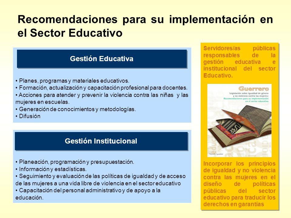 Recomendaciones para su implementación en el Sector Educativo
